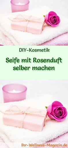 DIY-Seifen-Rezept: Seife mit Rosenduft selber machen - Rosenöl entfaltet seine Wirkung auf der Haut, indem es Feuchtigkeit schenkt, die Durchblutung fördert, Entzündungen verhindert und Juckreiz lindert. #diy#seife#selbermachen#körperpflege#kosmetik#naturkosmetik