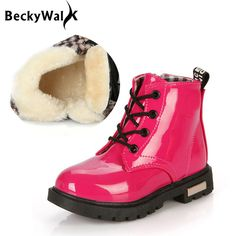 Happy Cherry Anti-Slip Children Martin Boots Fur Lined Boys Girls Martin Sneaker Boots Baby Casual Shoes