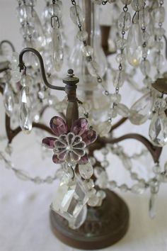 Pair of Antique Amethyst Crystal Girandoles from Full Bloom Cottage French Cottage, Old Antiques, Amethyst Crystal, Candelabra, Lighting Ideas, Lamp Light, Chandeliers, Lamps, Campaign