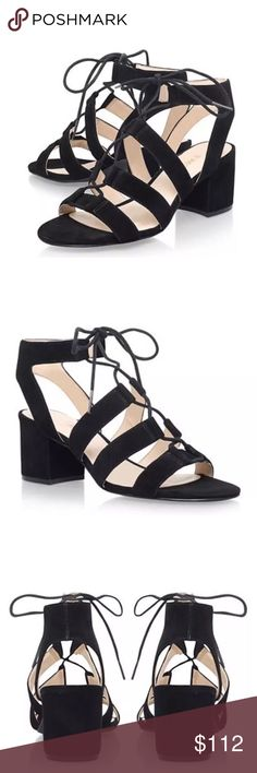 Nine West GAZANIA Suede Heeled Lace-Up Sandal Color: Black Size: 7.5 Nine west offers a quick edit of the runways -- pinpointing the must have looks of the season, and translating what is fun, hip, and of the moment. It is trend-right footwear that you will reach for in your closet again and again. Nine west is sure to be your trusted resource for everyday chic style.  Product Features: Gladiator-inspired sandal with cagey suede upper featuring lace front  Open heel counter Wrapped chunky…