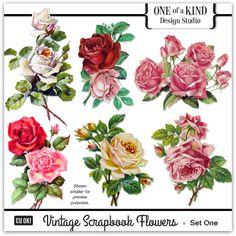 Vintage Scrapbook Flowers - Set One | CU/Commercial Use #digital #scrapbook design tools at CUDigitals #digiscrap