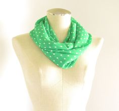 Green Polka Dot Scarf  Green Infinity Scarf  Green by EyeCandy395