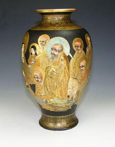 Vintage Oriental Japanese Satsuma Pottery Thousand Faces Vase Unusual | eBay