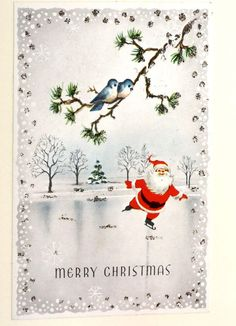 Christmas card. Made from a vintage card. Santa on ice. via Etsy.