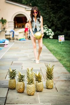 We vote yes to pineapple bowling: | Tropical DIY Party + Weding Ideas