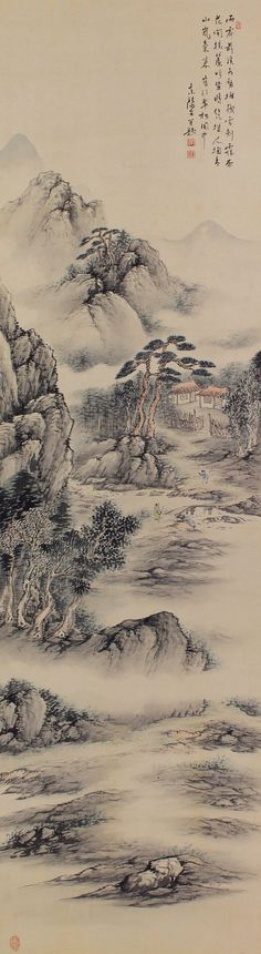 Japanese Fine Art Wall Hanging Scroll Painting Landscape Sansui – 1410039