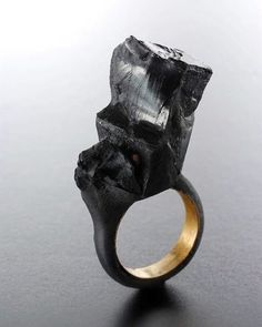 """rings for planet Earth - Claudia Cucchi - """"Il RISVEGLIO"""" Black - 2012 New Frequency The slowdown The rain The lightning Heat the dark Zone nothing The final rest Black Jewelry, Jewelry Art, Jewelry Rings, Jewelry Accessories, Jewelry Design, Jewlery, Contemporary Jewellery, Modern Jewelry, Unique Jewelry"""