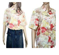Floral Tropical Lightweight 90s 80s blouse button up ladies shirt grunge vintage Lady, Up, Grunge, Ruffle Blouse, Shirts, Vintage, Women, Fashion, Moda