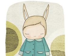 Baby Gift  Art  Flissy The Bunny Rabbit With Blue Coat by honeycup, $16.00