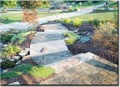 Mixing hardscape path, ground cover and mulch