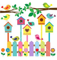Collection of cartoon birds Clipart Decoration Creche, Class Decoration, School Decorations, Diy And Crafts, Crafts For Kids, Arts And Crafts, Paper Crafts, Cartoon Birds, Cartoon Images