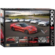 """Corvette Stingray """"It Runs In The Family"""" Jigsaw Puzzle - PZ-004P- Corvette Memorabilia, Classic Corvette, classic Corvette Memorabilia."""