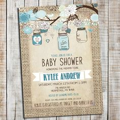 Elegant and Rustic baby boy shower invitation. - Can also be customized for a bridal shower. Matching designs are purchased separately using the link found below.   ——————————— T H E EASY S T E P S —————————————  1. SELECT & PURCHASE the 5x7 Invitation design (can be changed to a 4x6 upon request)  2. CUSTOMIZE In the notes to seller at check out, please add the information/wording for your invite. If you would like different wording than what is shown on the card, I can change it! 3. Proof…