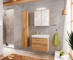 Stylefy Roseland I Badezimmerset Riviera Eiche Stylefy Roseland I bathroom set Riviera oak Oak Bathroom, Diy Bathroom Vanity, Bathroom Sets, Bathroom Interior, Bathrooms, Mirror Cabinet With Light, Wall Mounted Vanity, Drawer Unit, Mirror Cabinets