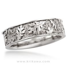 Oak Leaf Eternity Wedding Band - Layers of oak leaves in relief cover the surface of this wedding band. This nature-inspired ring can be made in the precious metal and width of your choice.