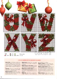 alphabet - noël - christmas - point de croix - cross stitch - Blog : http://broderiemimie44.canalblog.com/