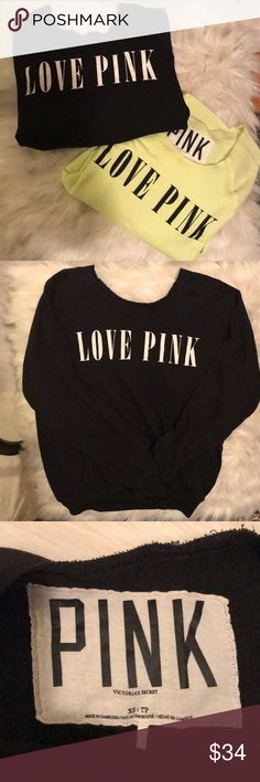 PINK lightweight sweatshirts (2) These two sweatshirts are soft and cozy lightweight with raw edge around neckline one is size xs and one is size sm will fit xs thru med without a problem PINK Victoria's Secret Tops Sweatshirts & Hoodies