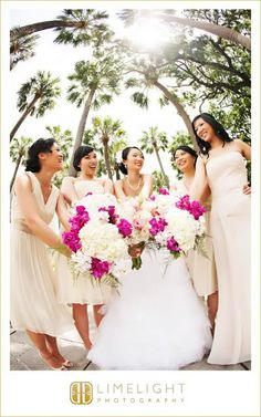 Limelight Photography, Bride and bridesmaids, pink and white flowers, bouquets, tan dresses, Marriott Tampa Airport, asian wedding, trees, www.Stepintothelimelight.com