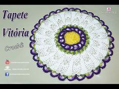 Tapete Redondo de Crochê - Giga Flor Vítoria - passo a passo - #crochet