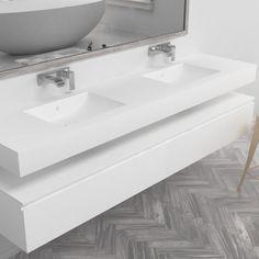 Dubbele wastafel Corian® Refresh Modern Bathroom, Bathroom Sinks, Corian, Double Vanity, My House, Tiles, New Homes, Bathtub, Bath Room