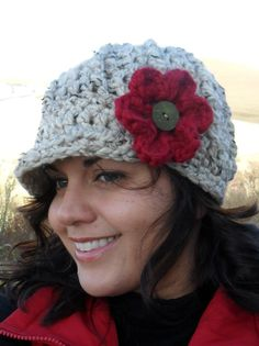 Crochet Newsboy Hat with REMOVABLE Flower by SoLaynaInspirations,