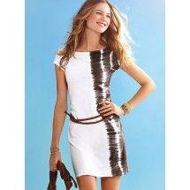 Zebra short-sleeved Slim nightclub Dress with Belt