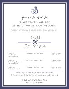 Rabbi, Youre Invited, Beverly Hills, Foundation, Marriage, Invitations, Events, How To Make, Valentines Day Weddings