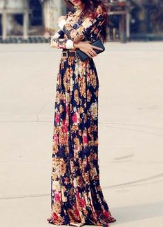 Long Sleeve Print Design Maxi Dress |