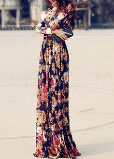 Long Sleeve Print Design Maxi Dress |