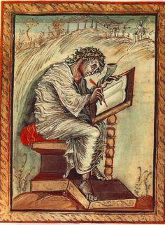 CAROLINGIAN: St. Matthew from the Ebbo Gospels. (The Gospel Book of Archbishop Ebbo of Reims), Hautevillers, France. c. 816-835. National Library, Paris.
