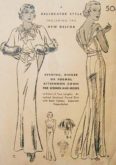Fantastic 1930's evening gown pattern - Butterick 5184 from 1933