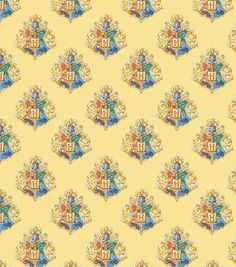 New! Harry Potter Cotton Fabric Watercolor Yellow Crest Quilt CottonFabric/Fat Quarter, 1/4 yard, 1/2 yard or Yard fabric cut
