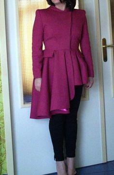 Alexander McQueen asymmetric tail riding coat ruffled skirt with peplum