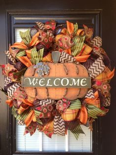 Welcome pumpkin mesh wreath by Glitzy Wreaths Www.facebook.com/glitzywreaths