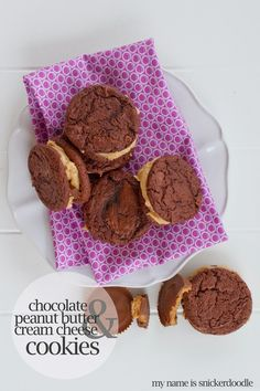 Chocolate Sandwich Cookies with Peanut Butter and Cream Cheese Filling | My Name Is Snickerdoodle