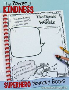 """Superhero memory books with a fun twist! Designed in a graphic novel style your class will love, students highlight their memories and accomplishments then write about their learning superpowers as well as the power of kindness, friendship, laughter, celebration, and respect. These memory books, in versions for K-3, also feature  """"show what you know"""" pages for each subject. Available separately or in a bundle with a Superhero writing craft and bonus student & parent gifts. $"""