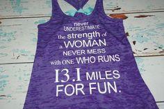 Women's Burnout tank top. Half Marathon. Marathon Tank Top. Racerback tank. running shirt. running tank. workout shirt. gym shirt.