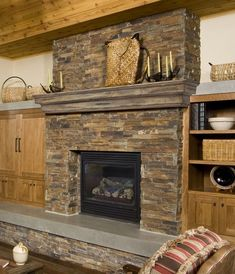In this article you will read some very useful info about the fireplace mental designs. Enjoy the read and have fun your redesign. Rustic Fireplace Mantels, Stacked Stone Fireplaces, Brick Fireplace Makeover, Wood Mantels, Rock Fireplaces, Farmhouse Fireplace, Home Fireplace, Fireplace Remodel, Fireplace Surrounds