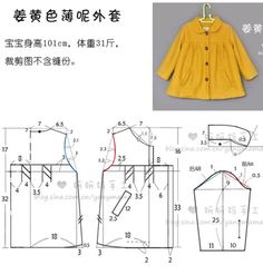 Golden coat {real clothes pattern to re-size} from: 小茹—温馨茹家_新浪博客