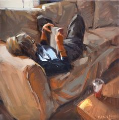 "Daily Paintworks - ""Pam Reading"" - Original Fine Art for Sale - © Carol Marine Art And Illustration, Illustrations, Figure Painting, Painting & Drawing, Painting People, Art Amour, Figurative Kunst, Reading Art, Woman Reading"