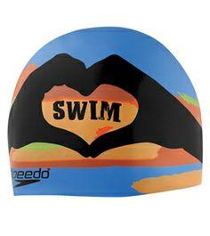 Speedo I Heart Swim Silicone Swim Cap  swimoutlet Problemas Na Natação 18e989037a3