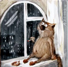 Cat in the window painting. Anatoliy Yaryshkin -
