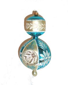 GIANT vintage Christmas ornament turquoise and silver by Crybabe, $17.00