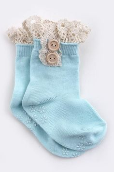 TODDLER ANKLE SOCKS WITH LACE -turquoise