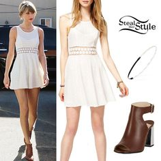Taylor Swift was spotted arriving at a ballet class a few days ago wearing a Free People Fitted With Daisies Dress ($128.00), a beaded headband similar to this from Forever 21  ($4.80) and a pair of Prada Halter-Strap Peep-Toe Sandals ($735.00).  http://stealherstyle.net/2015/01/25/taylor-swift-white-dress-cut-boots/