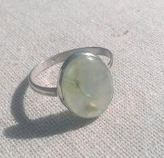 Green PREHNITE Gemstone .925 Sterling Silver Ring, Oval cut, SZ 6