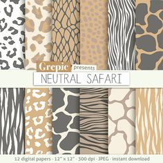 Animal patterns: digital paper NEUTRAL SAFARI