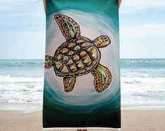 She used to go to Kona, Hawaii to watch the bred baby sea turtles get released into the wild with hopes that they would survive the wild ocean. This inspired her to paint the green sea turtle towel. Baby Sea Turtles, Surviving In The Wild, Kona Hawaii, Turtle Beach, California Surf, Skate Surf, Surf Style, Beach Towel, Surfing