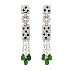 Cartier Panther Earrings White Gold with Emerald Drops Diamonds and Onyx thumbnail 1