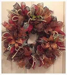 Lily Burgundy, Chocolate and Golden Brown Deco Mesh Wreath/Burgundy, Brown and Chocolate Wreath/Floral Lily Brown & Burgundy Wreath